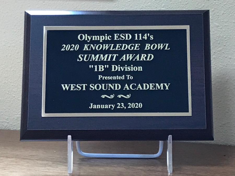 Knowledge Bowl 2020 plaque