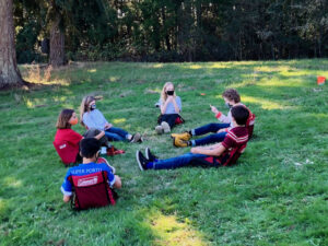 Middle School students in their camp chairs, October 2021
