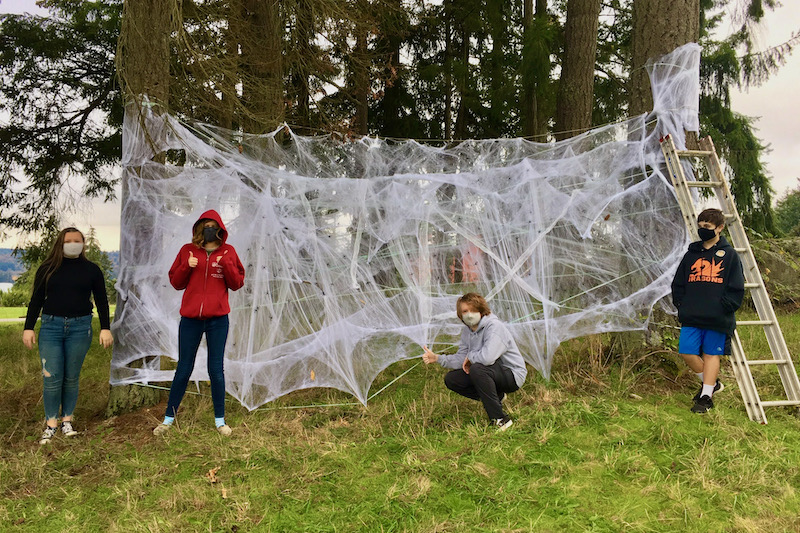 Giant spider web for the WSA Haunted Trail, October 2020