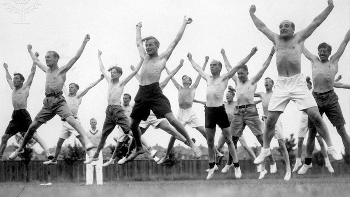 29th August 1935: Energetic teachers being put through their paces at their annual summer school in Kent - Britannica ImageQuest