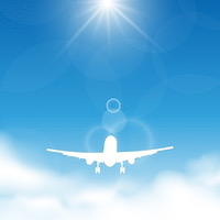 Illustration blue sky and clouds with flying airplane - Britannica ImageQuest
